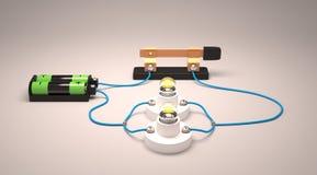 Circuito eléctrico simple (paralelo) Fotografía de archivo libre de regalías