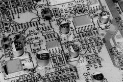 Circuito electrónico de B y de W Fotografía de archivo