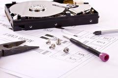 Circuito eletrônico e ferramentas Fotografia de Stock