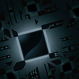 Circuito elettronico con il chip Immagine Stock