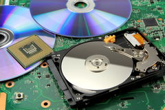 Circuito elettronico - scheda madre e disco rigido Fotografie Stock Libere da Diritti
