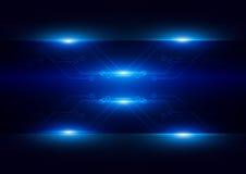 Circuito futuristico astratto con illuminotecnica c blu scuro Fotografie Stock