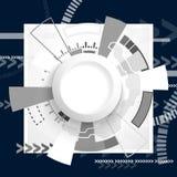 Circuito futuristico astratto, concetto di tecnologia digitale del computer di ciao-tecnologia, cerchio in bianco della carta di  royalty illustrazione gratis