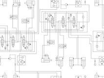 Circuito hidráulico da máquina Repetindo o teste padrão sem emenda para o projeto técnico ilustração royalty free