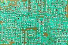 Circuito integrado, microprocesador, círculo, tiro verde del primer del PWB Fotografía de archivo libre de regalías