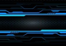Circuito leggero blu astratto sul nero con il vettore futuristico moderno del fondo di tecnologia di progettazione della maglia d illustrazione vettoriale
