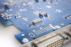 Circuito microelectrónico de la tarjeta de vídeo foto de archivo libre de regalías