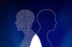 Circuito nella forma dell'uomo sul blu Tecnologia alta tecnologia royalty illustrazione gratis