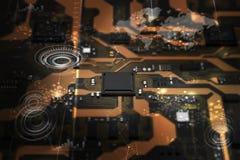 circuito stampato di 3D Rendered con il ele dell'unità di elaborazione del chipset del CPU illustrazione vettoriale
