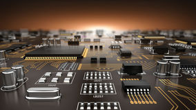 Circuito stampato elettronico del PWB di alta tecnologia con l'unità di elaborazione ed i microchip Fotografie Stock Libere da Diritti