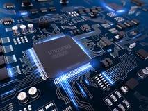 Circuito stampato elettronico del PWB di alta tecnologia con l'unità di elaborazione ed i microchip Fotografia Stock Libera da Diritti