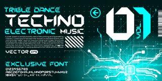 circuitos de alta tecnología de las letras del estilo del trance de la fuente de Techno Foto de archivo