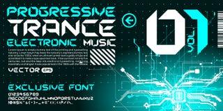 circuitos de alta tecnología de las letras del estilo del trance de la fuente de Techno Imagenes de archivo