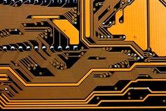 Circuitos de um cartão-matriz do computador Fotografia de Stock