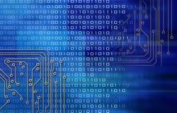 Circuitos y código binario stock de ilustración