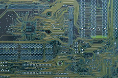 Circuitry. Details on a computer circuit board Stock Image