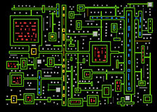 Circuits - Abstract Background - Neon colors Royalty Free Stock Image