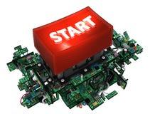 Circuits, Big Start Button Royalty Free Stock Photos