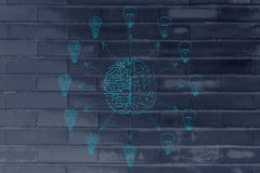 Circuits & brain creating different idea lightbulbs Stock Photo