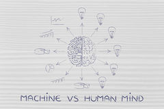 Circuits & brain creating processed data vs ideas, machine vs mi Royalty Free Stock Photos