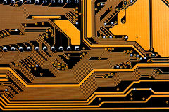 Circuits of a computer motherboard. Detail of the circuits of a computer motherboard stock photography