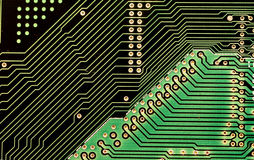 Circuits, Diagonal. Circuit board and Copper pins Stock Image