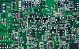 Circuits on laptop motherboard Stock Photos