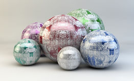 Circuits on spheres. Illustration of printed circuits on 3D spheres Stock Photo