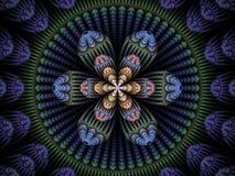 Circulaire bleue, verte, de rose et de pêche et fractale florale de flamme illustration de vecteur