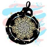 Circulaire calligraphique de lettrage de style de mandala de Joyeux Noël dedans Photo stock
