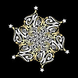Circulaire calligraphique de lettrage de style de mandala de Joyeux Noël dedans Images stock