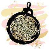 Circulaire calligraphique de lettrage de style de mandala de Joyeux Noël dedans Photographie stock