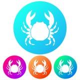 Circulaire, crustacé d'obtention du diplôme/icône de crabe Quatre variations de couleur illustration de vecteur