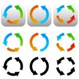 Circulaire, icônes de flèche de cercle, symboles Versio coloré et noir Photo libre de droits