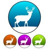Circulaire, silhouette de cerfs communs de gradient sur une silhouette de blanc d'icône de colline Quatre variations Images stock