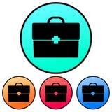 Circulaire, valise de gradient/silhouette noires de serviette avec une croix Quatre variations illustration libre de droits