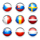 Circular 3D flag icons. For the Czech Republic, Slovakia, Sweden, Malta, Romania, Latvia, Slovenia, Poland, and the Netherlands, isolated on a white background Stock Images