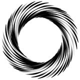 Circular abstract motif, element, shape. Monochrome geometric el Royalty Free Stock Image