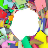 Circular abstract rainbow color spiked shape on white Stock Image
