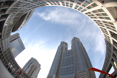 Circular architecture. Fisheye view of Tokyo Metropolitan Government Office building Royalty Free Stock Image