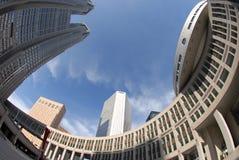 Circular architecture. Fisheye view of Tokyo Metropolitan Government Office building in Shinjuku Tokyo Japan stock photo