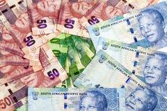 Circular Arrangement of Flat South African Rand Bank Notes Stock Photos