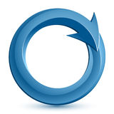 Circular arrow. Illustration of blue circular arrow Royalty Free Stock Photo