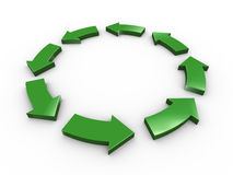 Circular arrow. 3d Illustration of green circular arrows representing concept of processing royalty free illustration