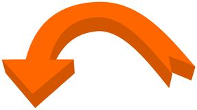 Circular arrow in 3d orange color - 3D Illustration Royalty Free Stock Photography