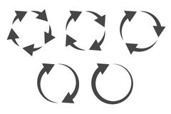Circular arrows icon set. Repetitive process icon with circular arrows explanation. Icon reflect renewable energy, recycling, repeatable industry and business Stock Photos