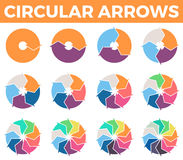 Circular arrows for infographics with 1 - 12 parts. Stock Photo