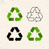 Circular arrows, vector recycle icons isolated on white Royalty Free Stock Photos