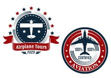 Circular aviation emblems or badges Royalty Free Stock Photos
