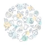 Circular background of children themes with toys, clothes and other elements on the theme of children stock illustration